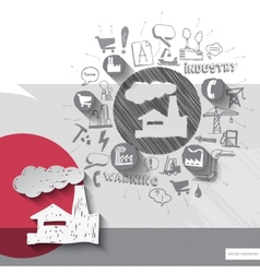 Hand drawn factory icons with icons background vector image