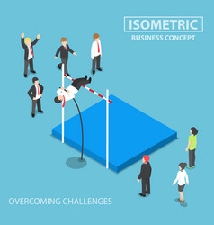 isometric businessman doing the pole vault vector image vector image
