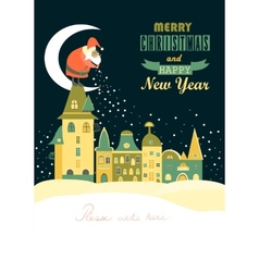 Santa Claus spreads snowflakes over the night vector image vector image
