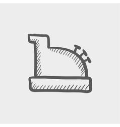 Antique cash register sketch icon vector image