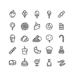Desserts sweets ice cream muffin cakes vector image vector image