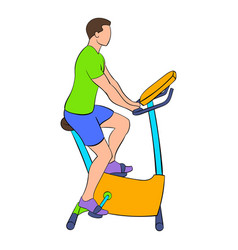 man training on a stationary bike icon cartoon vector image