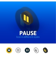 Pause icon in different style vector image vector image