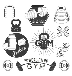 Set of gym labels in retro style Sport fitness vector image