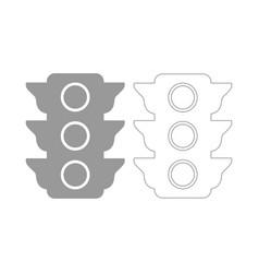 traffic light the grey set icon vector image