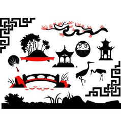 Collection of Asian Garden vector image vector image