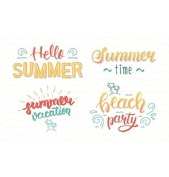 Colorful summer hand lettering set Summer vector image
