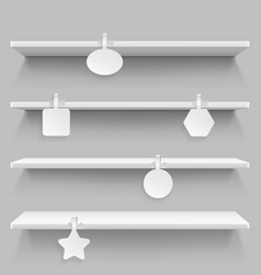 empty supermarket retail shelves with advertising vector image