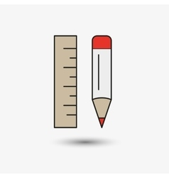 Pencil and ruler icon vector image