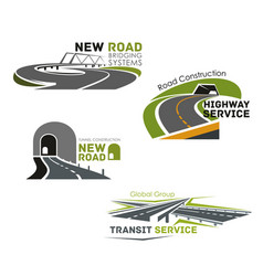road service bridge or tunneling icons vector image