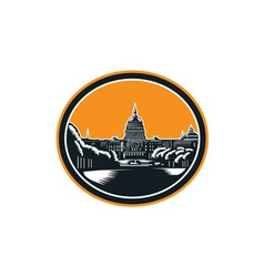 United states capitol building woodcut retro vector