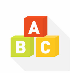 abc blocks flat icon for education vector image vector image