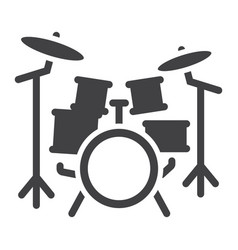 drum kit glyph icon music and instrument vector image