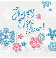 happy new year template with snowflakes vector image