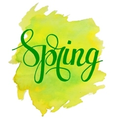 Hello Spring lettering on yellow green watercolor vector image vector image