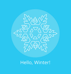 hello winter poster with blue snowflake in circle vector image