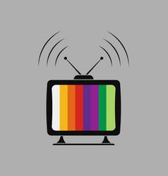 icon tv viewing gear splash vector image vector image