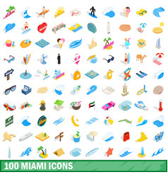 100 miami icons set isometric 3d style vector