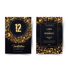 12th years birthday black paper luxury vector