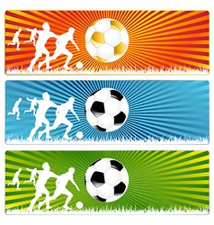 3 Soccer ball or Football banners vector image