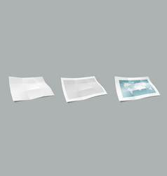 3d paper nine folded blank brochure template vector image