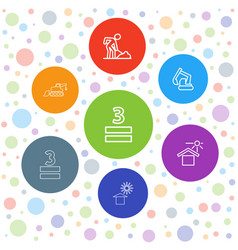 7 under icons vector