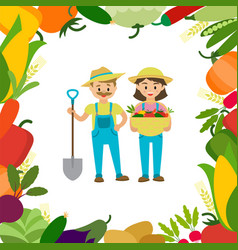 a couple farmers with harvest vector image