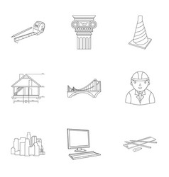 A set of icons on the theme of construction and vector