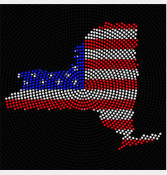 abstract map new york radial dots with flag usa vector image