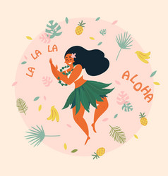 Aloha hawaiian holidays poster with hula dancer vector