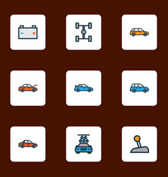 automobile icons colored line set with sedan vector image