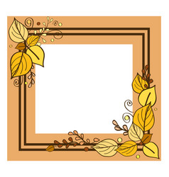 Autumn frame consisting of two lines leaves vector
