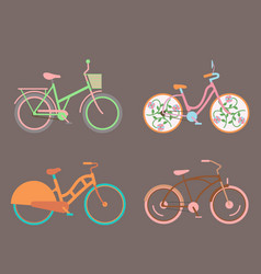 bicycles vintage style old bike transport vector image vector image