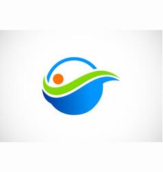 bio organic water logo vector image