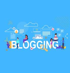 Blogging letter banner flat vector