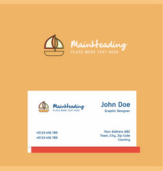 boat logo design with business card template vector image