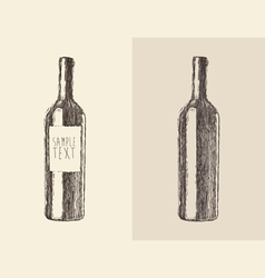 Bottle wine engraved style vector