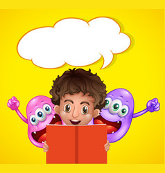 boy reading book with two monsters vector image