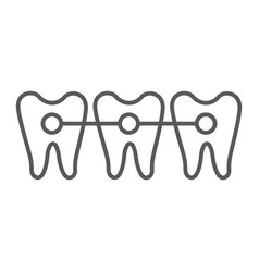 braces thin line icon dentist and dental teeth vector image