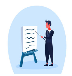 businessman pointing flipchart presenting vector image
