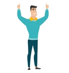 Businessman standing with raised arms up vector image