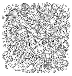 cartoon hand-drawn doodles ice cream vector image