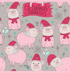 christmas seamless pattern with detailed vector image