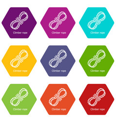 climber rope icons set 9 vector image