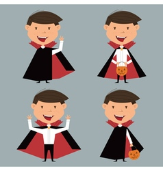 collection with boy in vampire costume for Hallowe vector image