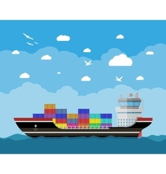 Commercial container ship vector image