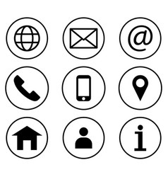 contact us icon set line art style vector image