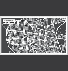 Corrientes argentina city map in black and white vector