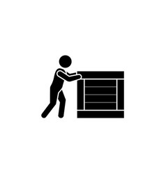 courier icon man pushes a big box vector image