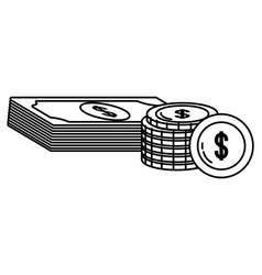 Currency money bill stack black and white vector